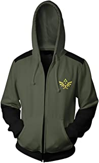 VOSTE Zelda Costume Link Hooded Sweater Hyrule Warriors Zipper Coat Jacket