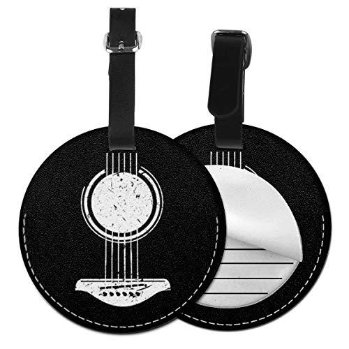 Etiquetas De Equipaje De Cuero Sintético Identificación De Nombre con Cubierta De Privacidad Trasera para Maleta De Viaje, Guitarrista Música Guitarra Acústica