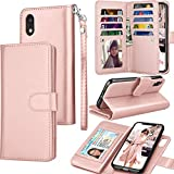 Tekcoo for iPhone XR Wallet Case/iPhone XR Case, 6.1' Luxury Cash ID Credit Card Slots Holder [Rose Gold] Purse Carrying PU Leather Folio Flip Cover [Detachable Magnetic Hard Case] & Kickstand