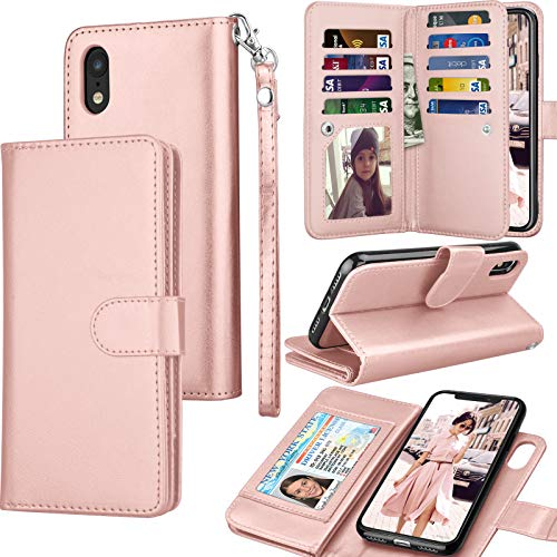 Tekcoo for iPhone XR Wallet Case/iPhone XR Case, 6.1 Luxury Cash ID Credit Card Slots Holder [Rose Gold] Purse Carrying PU Leather Folio Flip Cover [Detachable Magnetic Hard Case] & Kickstand