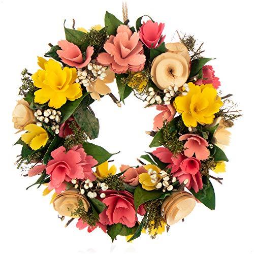 com-four Ghirlanda per la Porta con Fiori di Legno - Ghirlanda Decorativa da Tavolo - Decorazione di Ghirlanda con Gancio - Diametro ca. 30 cm (Giallo. Rosa)