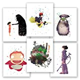 Set of 6 Posters - All the way from the valley of winds - My Neighbor Totoro - Kikis Delivery Service Poster - Spirited Away - Howl's Moving Castle - Ponyo- Animated Films by Hayao Miyazaki (8x10)
