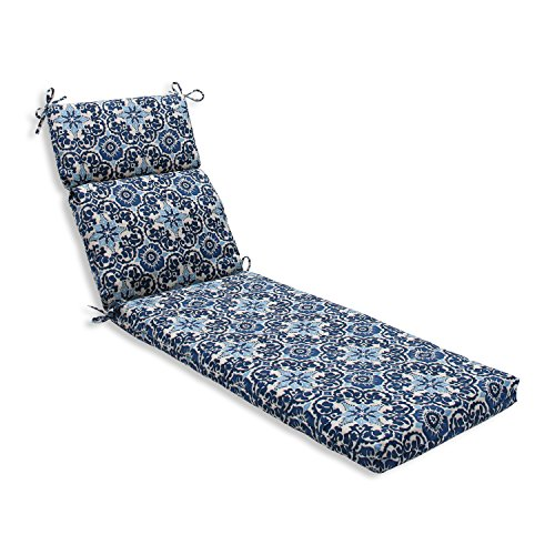 Pillow Perfect Outdoor/Indoor Woodblock Prism Chaise Lounge Cushion, 72.5 in. L X 21 in. W X 3 in. D, Blue