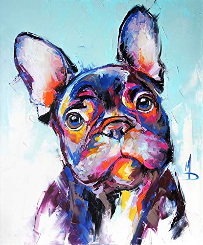 Oil Painting Portrait of a French Bulldog in Vibrant Multicolored Tones 9018238 (12x18 Art Print, Wall Decor Travel Poster)