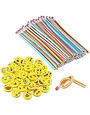 LATERN 80 Piezas Kids Party Bag Set de Relleno, Suave Flexible Bendy lápices y Emoji Smile Erasers Magic Bend Toys School Fun Equipo de papelería Favor Suministros
