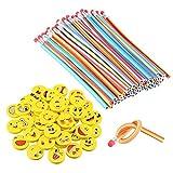 80 piezas de lápices y gomas Emoji