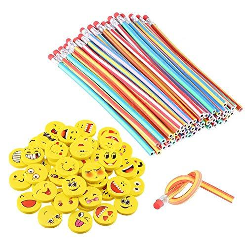 LATERN 80pcs Biegebleistift Kinder und Emoji Smiley Radiergummis, Biegbare Bleistifte,Flexible Biegsame Bleistifte für Kinder ,Party und Kleiner Geschenke