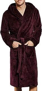 Men's Winter Lengthened Coralline Plush Shawl Bathrobe Long Sleeved Robe Coat Dressing Gown