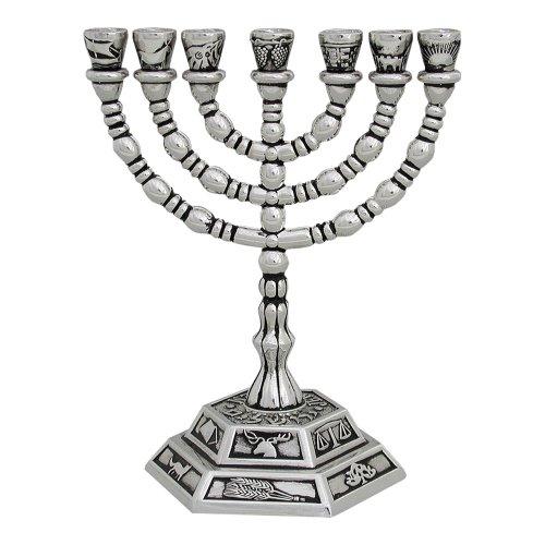 Menora Kerzenhalter, versilbert, von Israel, ein siebenarmiger Leuchter
