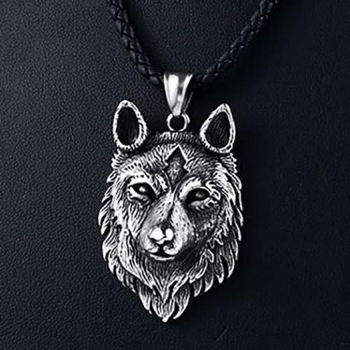 ZSML Collier Tête de Loup Fox Jewel Viking - Pendentifs Totem Animaux du Courage Et La Force - Cadeau Original Homme Unisexe