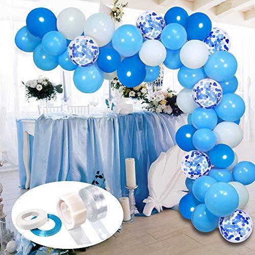 APERIL Blau Konfetti Ballons, Luftballons Blau Weiss Geburtstagsfeiern Zubehör,Latex Ballons Partydekoration für Geburtstag, Babyparty, Hochzeit
