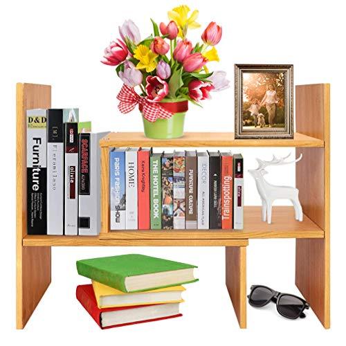Schreibtisch-Organizer / Regal, Bücherregal, verstellbar, freistehend, für Büro und Zuhause, natürlicher Bambus