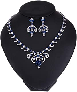 Granos de 3 Capas Azul Mar Elegante con Collar Pendiente Conjunto de joyas de Flores