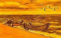 壁の壁画 壁紙 ウォールカバー シーボートカモメ油絵スタイル 壁画 壁紙 ベッドルーム リビングルーム ソファ テレビ 背景 壁 壁面装飾のための,300x210cm
