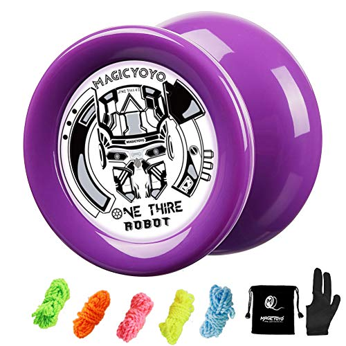 MAGICYOYO Responsive YoYo D2 OneThird, Looping Professional Yoyo, Best Yoyo for Kids Beginners with 5 Strings, Yo Yo Glove, Yo-yo Bag (Purple)
