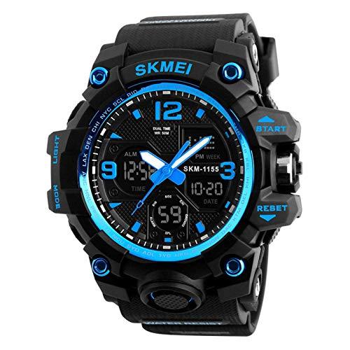 JTTM Hombre Relojes, Al Aire Libre Deportes Multifuncional Analógico Y Digital Deporte Relojes LED Relojes De Pulsera Men Watches,Azul
