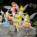 GSDGSD 6 unids/Set Disney Princess Tinkerbell Dolls Flying Flower Fairy PVC Figuras de acción...