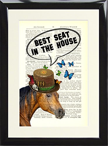 Framed Dictionary Print Steampunk Horse Best Seat in the House. Funny Toilet Loo Sign Poster printed on a Vintage Book Page. Presented in a Black Wood Frame steampunk buy now online