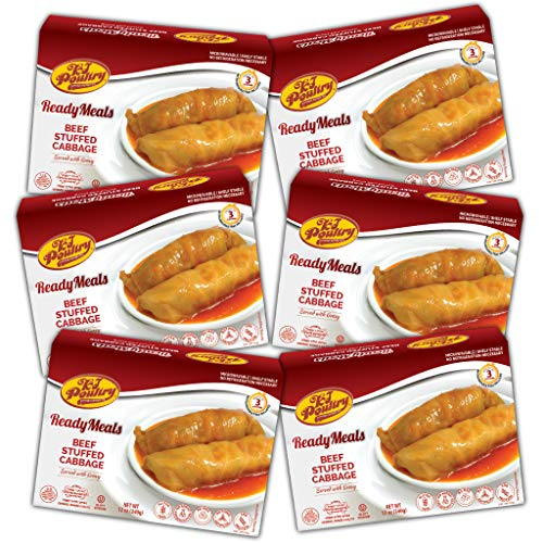 Kosher MRE Meat Meals Ready to Eat, Gluten Free Beef Stuffed Cabbage Rolls (6 Pack) - Prepared Entree Fully Cooked, Shelf Stable Microwave Dinner – Travel, Military, Camping, Emergency Survival Food