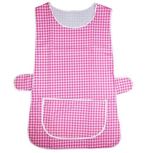 MyShoeStore® Keukenschort voor dames, van polykatoen, met witte randen, grote middelgrote tas, zijdelingse sluiting door knoppen, chef, reiniging, catering service Medium Roze.