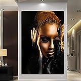 ganlanshu Pintura al óleo de Mujer Negra y Dorada Retrato Moderno de niña Pintura de Lienzo decoración del hogar,Pintura sin Marco,60X90cm
