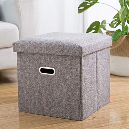 Opslag vierkante kruk creatieve thuis multi-functie kan volwassene zitten vouwen weefsel klein bankje opbergbox (Color : Gray, Size : 38 * 38 * 38cm)