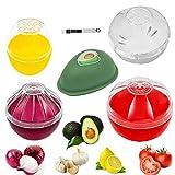 Onion Garlic Lemon Avocado Storage Keeper Holder for Fridge, Yamesu BPA Free Tomato Vegetable Shaped Food Saver/Storage Containers, 5-piece Set Bundle with a Brush
