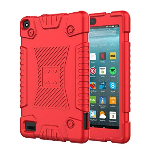 Capa Uonlytech E-Reader, capa completa para leitor eletrônico, capa rígida híbrida de silicone à prova de choque suporte para leitores de e-book Fire 7 2019 (vermelho)