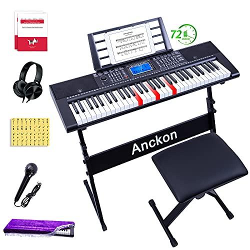 Anckon Keyboard Piano 61-Key Beginners Complete Electronic Keyboard Piano Set...