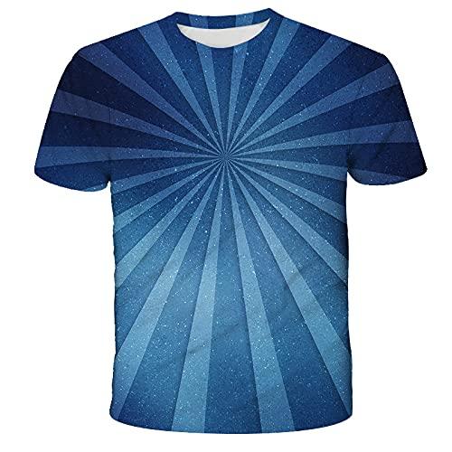EMPERSTAR Camiseta Running Hombre Verano Geométrico Abstracto de Manga Corta 3D Impreso Digital Casual Suelto Cuello Redondo Camiseta de Hombre Tops