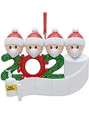 Kerstversiering, 2020 gepersonaliseerde overlevende familie van 2, 3, 4, 5 kerst 2020 feestdagen decoraties DIY naam zegen hars sneeuwman kerstboom hangen hanger