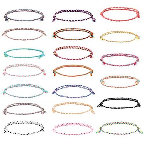 Milacolato 20-TLG Freundschaftsbänder für Frauen Mädchen Handgemachtes Armband einstellbar Mehrfarbig gewebte dünne Schnüre Handgemachte geflochtene Wickelarmband