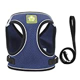 PET SPPTIES Tela de Malla Chaleco para Perros Arnés Suave Ajustable cómodo para Cachorros, Perros Pequeños y Gatos PS042 (S, 076 Dark Blue)