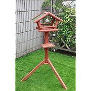 Petsfit Massivholz Vogel-Futterspender/Vogeltisch/Vogelhaus mit Asphaltschindeln - Außen Vogel Futterspender - 119 cm hoch (Mittelgroß)