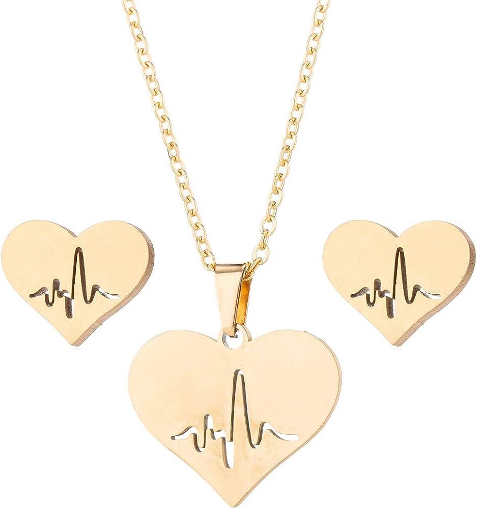 Jeni-Sely Stainless Steel Simple Heart Shape Heartbeat ECG Pendant Necklace Stud Earrings Jewelry Set Gift for Girlfriend