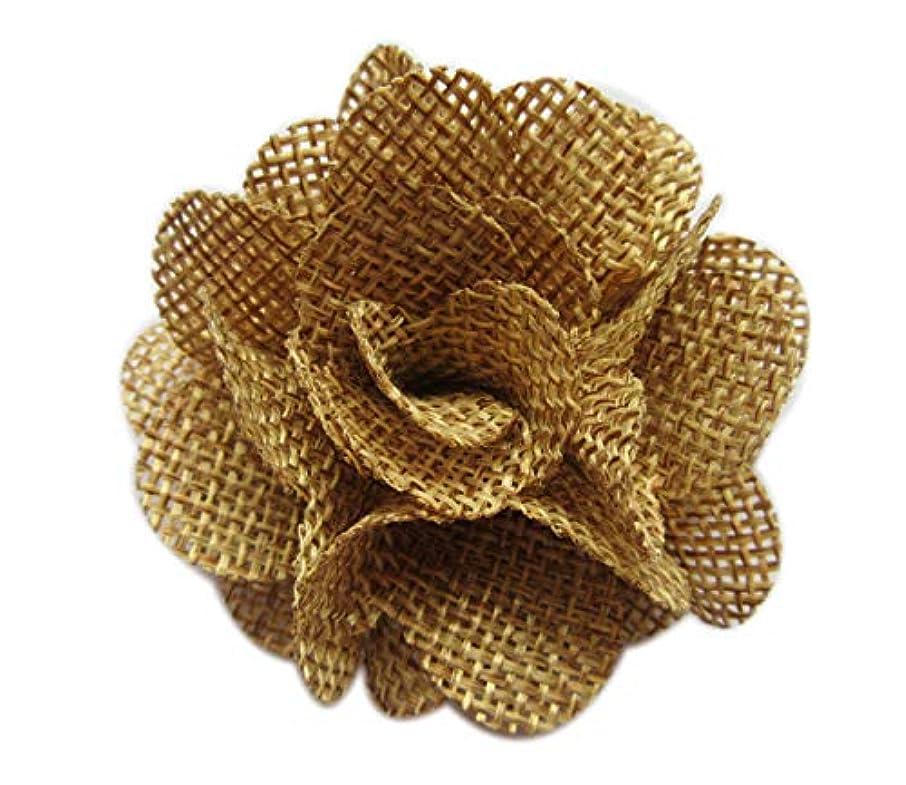 XiXiboutique 15pcs Burlap Flower Roses 3D Fabric Flowers for Headbands Craft(Tan)