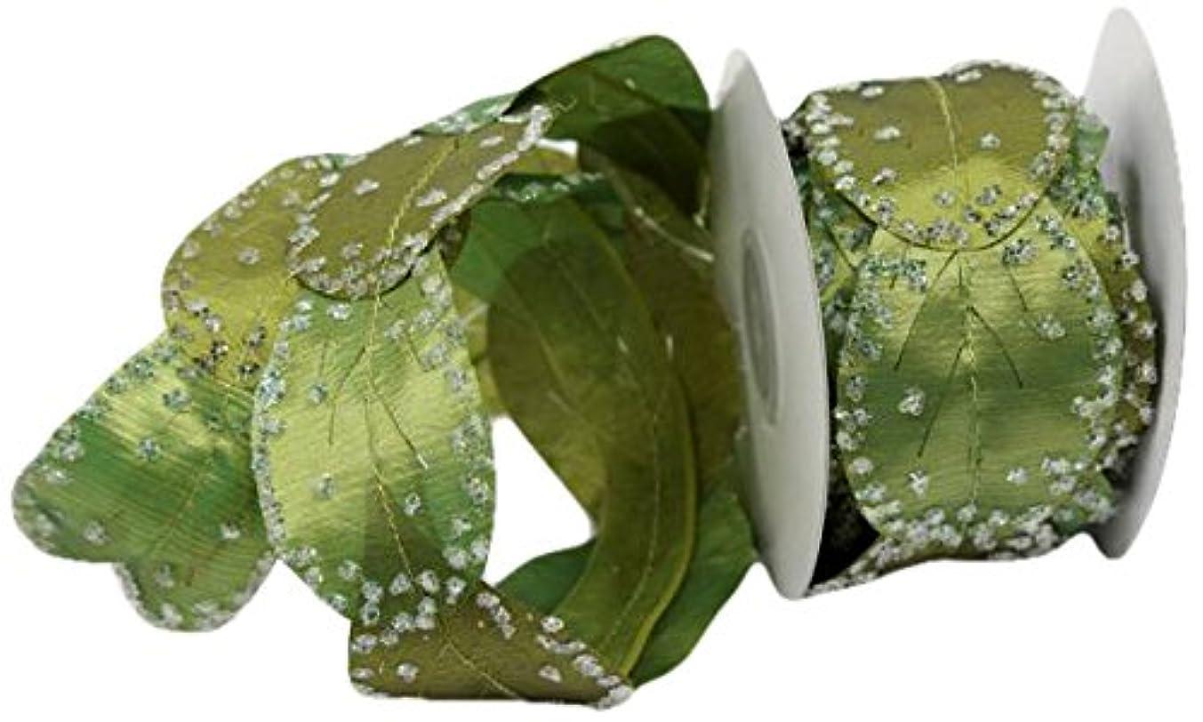 Renaissance 2000 2-Inch x 10yd 2-Toned Green Leaves Ribbon