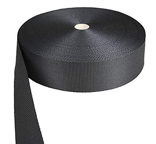 Rollo de correa tranzada Gurtband // Baender24.de color negro 10 m, polipropileno, 40 x 1,2 mm