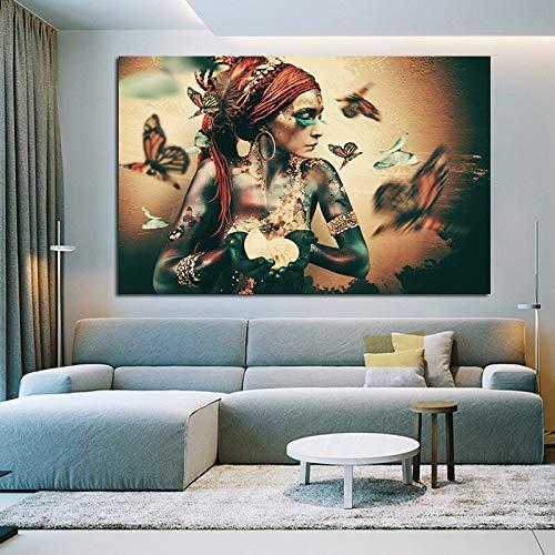 KWzEQ Manifesto della Farfalla della Pittura della Tela della Tela dell'estratto del Ritratto di Arte della Parete della Donna per la Decorazione del Salone,Pittura Senza Cornice,30x45cm