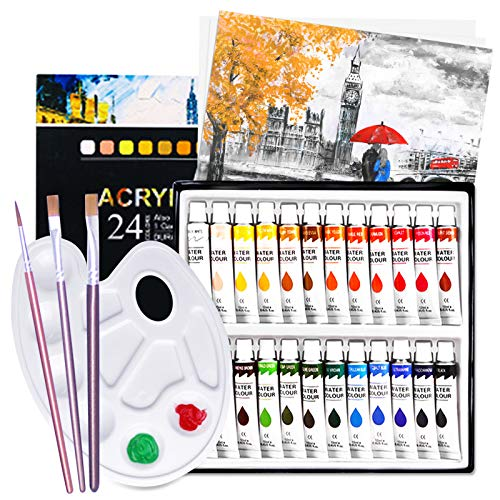 Pinturas Acrílicas,Juego de pintura de acuarela 24 colores acrílicos+3 pinceles para artistas+1 paleta de mezcla+Lienzo 1 paquete,Tubos de Pintura Acrílica rápidoIdeales para Pintar y Dibujar