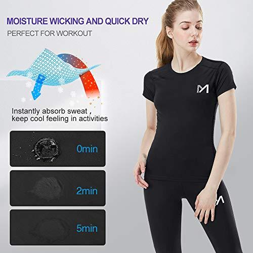 MEETYOO Kompressionsshirt Damen, Sport Leggings Kompressionshose Lang Running Tights Atmungsaktiv Kurzarm T-Shirt für Laufen Radfahren Yoga Gym - 2