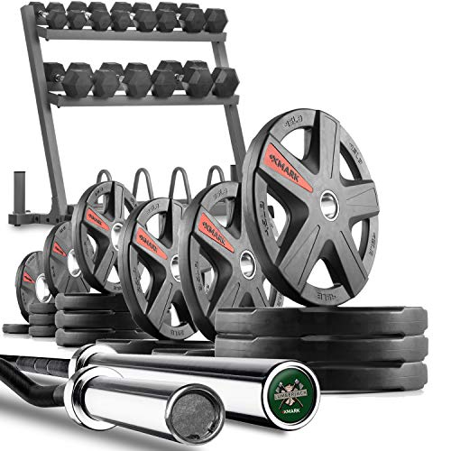 XMark Powerhouse 2 Dumbbell Rack and Plate Weight Rack Loaded with 350 lbs. of Hex Dumbbells, 365 lbs. of Texas...