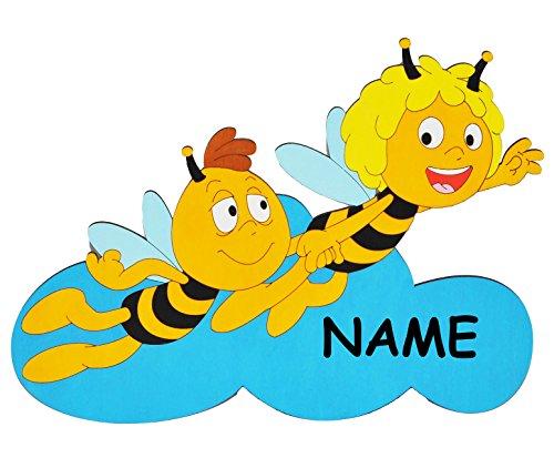 alles-meine.de GmbH die Biene Maja und Willi auf Wolke - XL - Türschild / Wandbild / Wandtattoo - incl. Name - aus Holz - selbstklebend - Kinderzimmer / Aufkleber Wandsticker Wan..