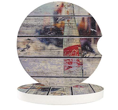 JHLP Botella de Coca Cola, tablón de Madera rústico, pequeño Juego de Posavasos de cerámica Redondos para Coche para Bebidas, café, té, portavasos para Bebidas-6_PCS