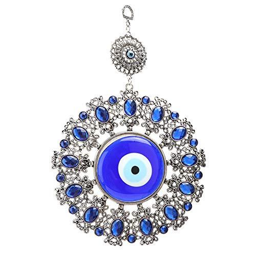 Weikeya Exquisite türkisches Glas Amulett, Glasverzierung Bürogeschenk 21 * 17,5 cm Glück Charme Geschenk Metall gemacht