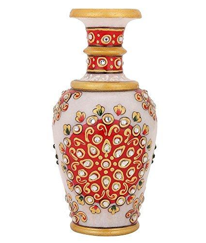 Purpledip kleine marmer vaas, bloempot voor thuis decoratie, 6 inch Indiase cadeau-ideeën (10690)
