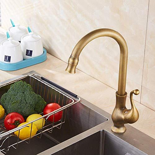 ZYL-YL Latón antiguo grifo de la cocina sola manija agua fría y caliente mezclador baño lavabo grifo de agua retro vanidad