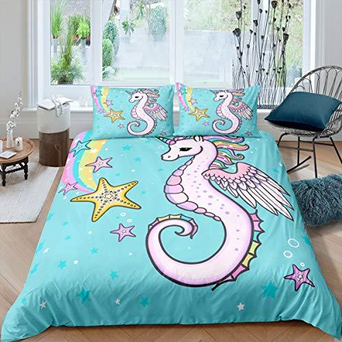Juego de funda de edredón con diseño de unicornio, diseño de caballitos de mar, para niños, niñas, adolescentes, estrellas de mar, con dibujos animados marinos, 3 piezas,...