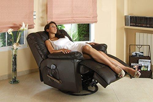 ECODE Sofá de masaje balancín giratorio en piel con calor lumbar ECO-8615 marron