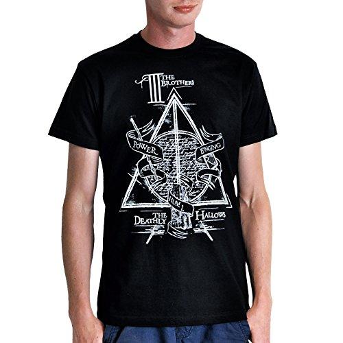 Elbenwald Harry Potter T-Shirt Unisex Die 3 Brüder mit Heiligtümer des Todes Symbol Frontprint schwarz - XL